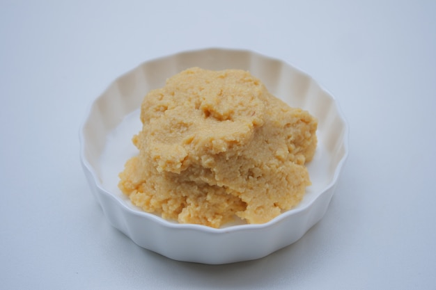 Salted soy beans paste on a bowl