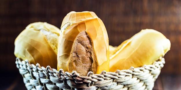 木の表面のバスケットに入った、フランスのパンと呼ばれるブラジルのパン屋からの塩辛いパン