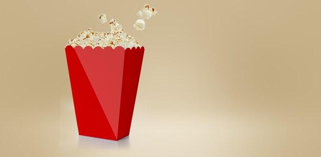 白、3dレンダリングの赤いカップカートンボックスに分離された塩辛いポップコーン