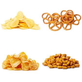 Salty snacks. pretzels, chips, crackers collage