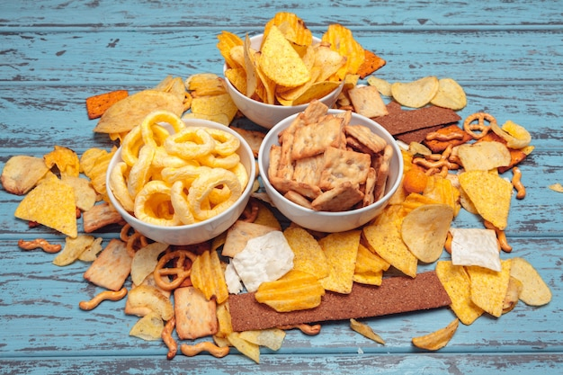 Salty snacks. pretzels, chips, crackers. unhealthy products