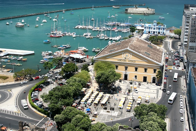 Salvador, brazil - january, 2017: mercado modelo one of the most famous landmarks in salvador , view from elevator lacerda.