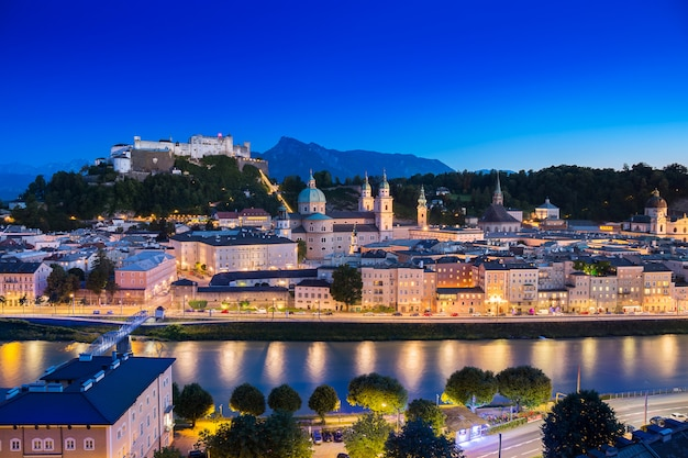 Salzburg cathedral and old castle in center of old town at sunset time in salzburg, austria