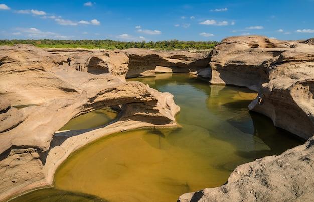 Sam pan bok, the amazing of rock shape in mekong river during summer season, ubon ratchathani, thailand.