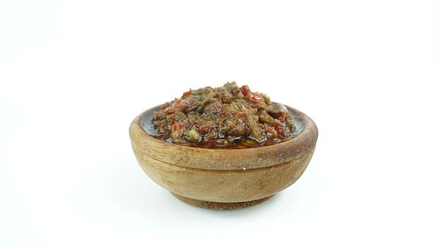 Sambal bawang merah in a clay bowl