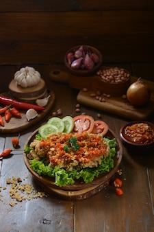 Sambal bawang merah on a wooden table