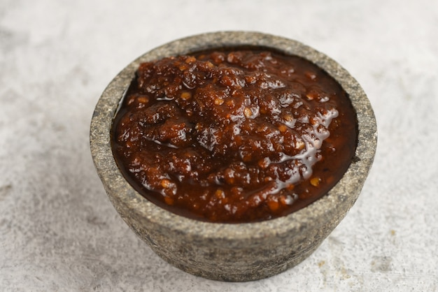 Sambal is one of indonesian signature condiment made from chili garlic shallot and tomato
