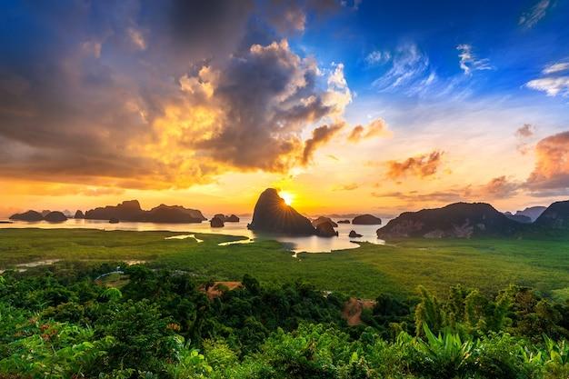 Samet nangshe viewpoint at sunrise in phang nga, thailand.