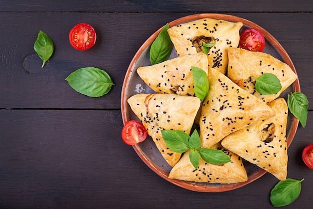 Samosas with chicken fillet and green herbs