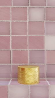 향수 및 욕실 제품 샘플을 위한 타일 배경의 욕실 제품 샘플.