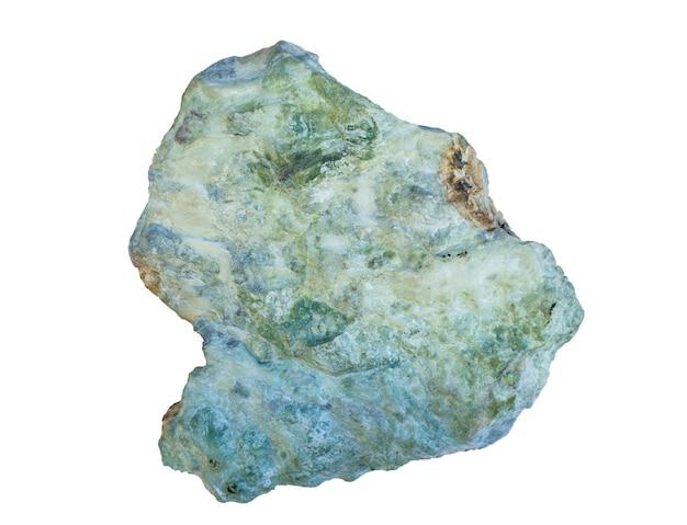 흰색 배경에 고립 된 녹색 동석 광물, 활석 편암의 샘플