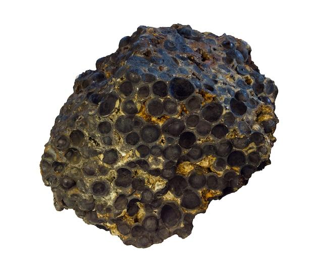 白い背景で分離された魚卵石の形で鉄鉱石マグネタイトのサンプル