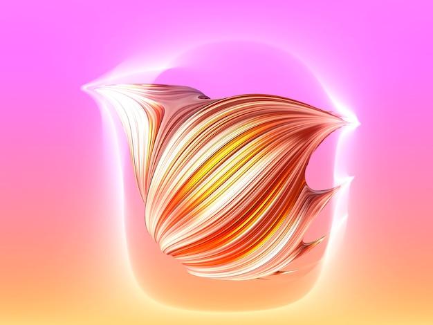 Образец мазка для окрашивания волос. 3d визуализация мазок кисти золотой водоворот, изолированные на персиковом и розовом фоне. художественная абстрактная металлическая 3d кисть иллюстрации.