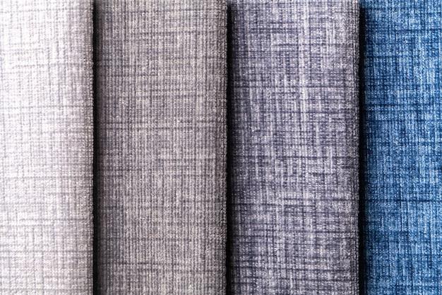 Sample of velvet textile various colors, background.