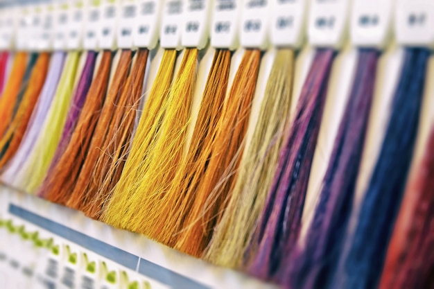 Samples of bright multi-colored shades of hair for coloring