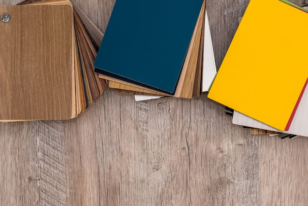 Samples of colored wooden samples for furniture processing