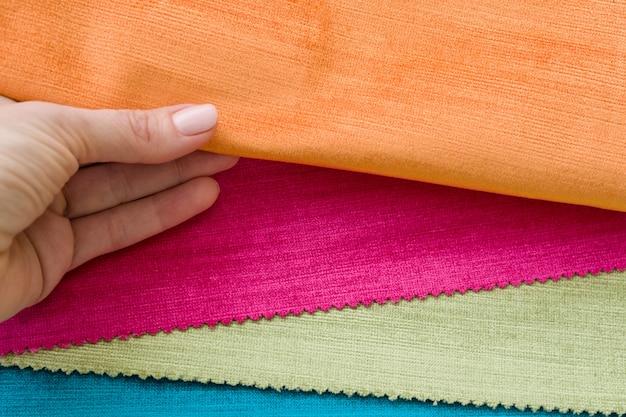Samples of colorful interior fabrics.
