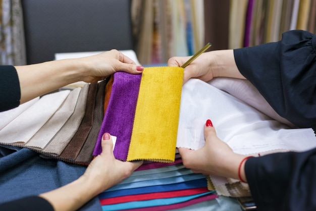 Samples of fabrics for curtains, furniture upholstery