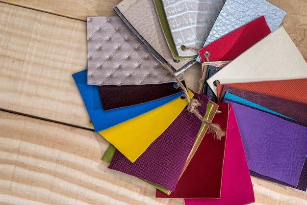 Samples of leather for design on desk