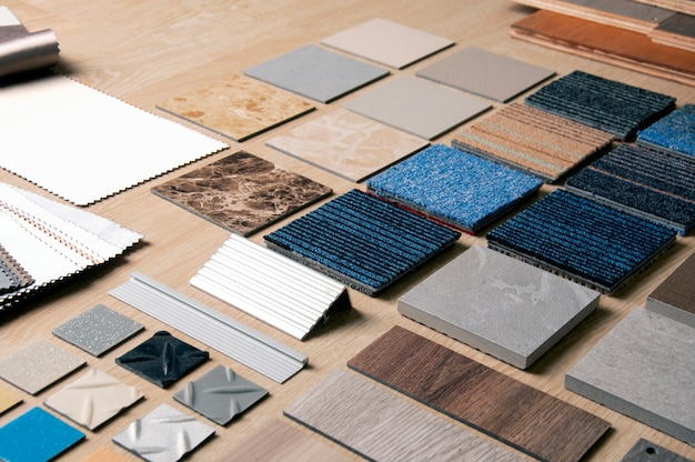 Samples of tiles, boards and fabrics