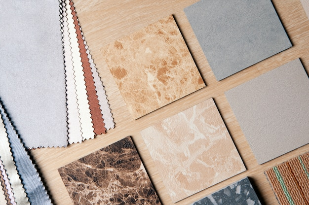Samples of tiles and fabrics