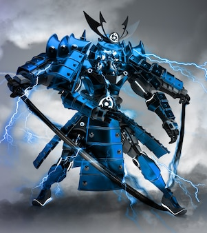 Samurai robot warrior design .3d rendering