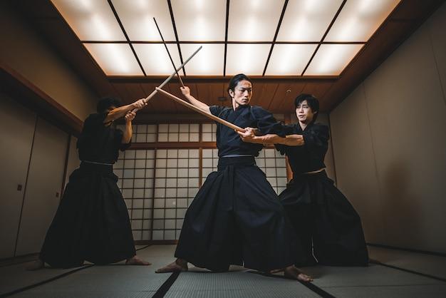 Samurai training in a traditional dojo, in tokyo