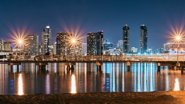 San diego night downtown cityscape with pier on foreground
