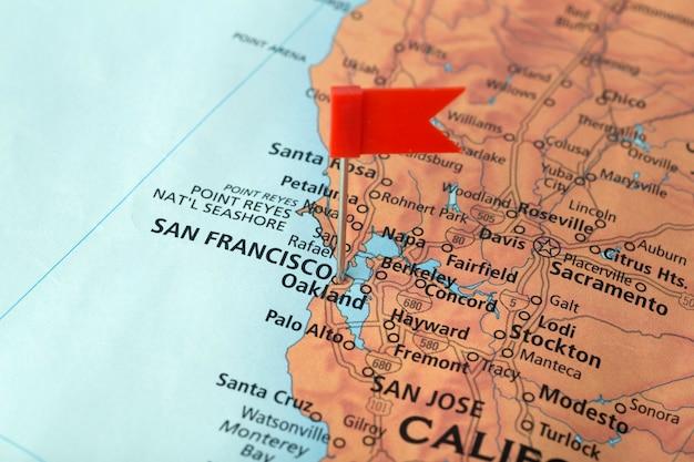 미국지도에서 샌프란시스코와 캘리포니아. 미국 여행