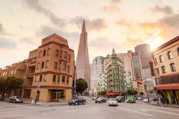 미국에서 황혼의 샌프란시스코 도시 풍경