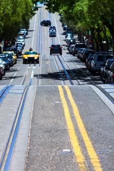 캘리포니아의 샌프란시스코 하이드 스트리트 놉 힐