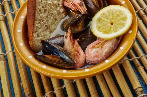San francisco-style seafood  cioppino  , close up