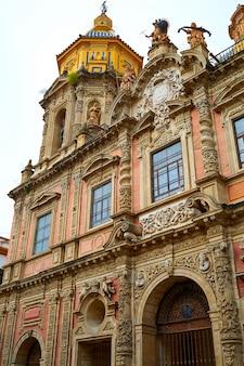 San luis church facade in seville of spain