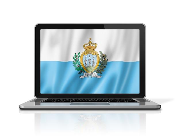 白で隔離されるノートパソコンの画面上のサンマリノの旗。 3dイラストのレンダリング。