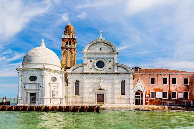 San michele church on a venetian island. cemetery in venice, italy.