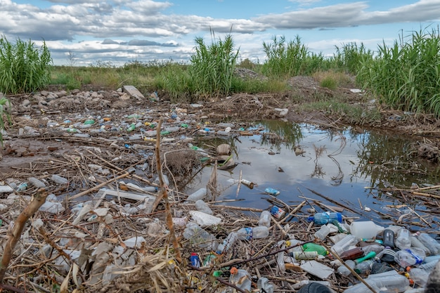 San rafael, argentina, january 1, 2021:rubbish floating on a surface of the water, contamination of water bodies.