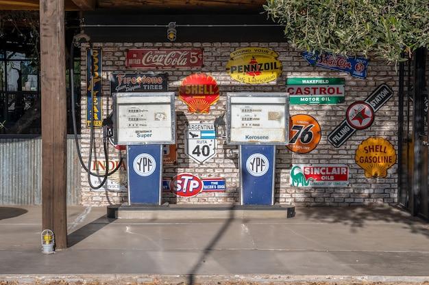 San rafael, argentina, june 29, 2021: retro old fuel pumps