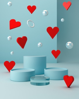 San valentine's scene with geometrical forms with empty podium. geometric shapes