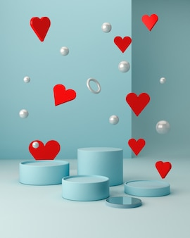 San valentine's scene with geometrical forms with empty podium. geometric shapes