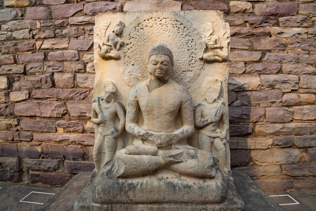 Sanchi stupa, ancient buddhist building, religion mystery, carved stone.