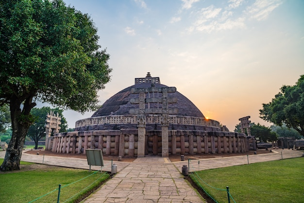 Sanchi stupa, madhya pradesh, india. ancient buddhist building, religion mystery. sunrise sky.