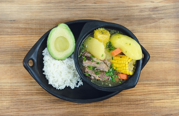 Sancocho, typical colombian soup. colombian gastronomy.