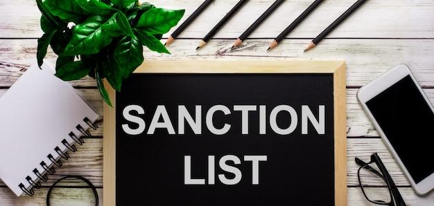 Список санкций написан белым на черной доске рядом с телефоном, блокнотом, очками, карандашами и зеленым растением.