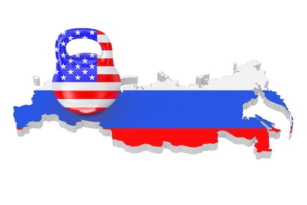 Концепция санкций. железная гиря с флагом сша над картой россии с флагом на белом фоне. 3d рендеринг