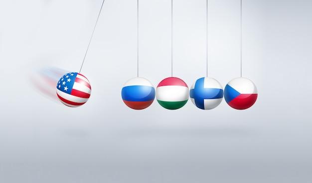 제재-미국, 러시아, 헝가리, 체코 및 핀란드의 국기가있는 개념적 이미지