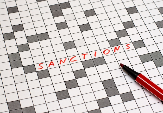 Sanctions. text in crossword. red letters