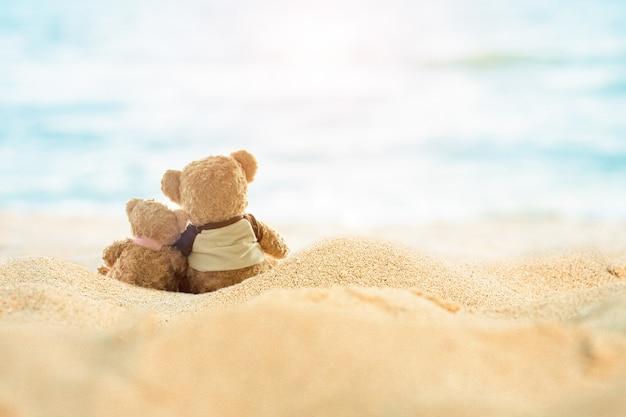 모래 해변과 바다 배경