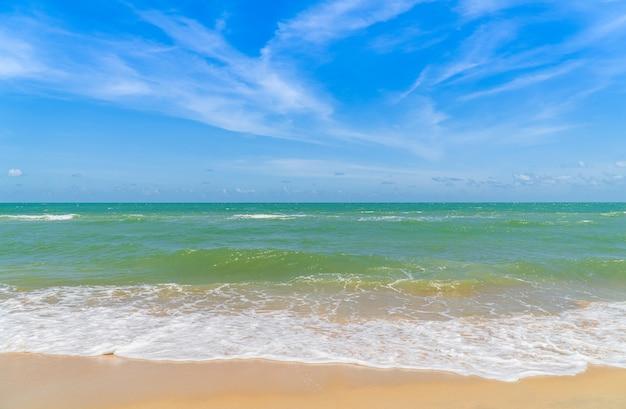 하얀 거품 푸른 파도 바다와 모래 해변 해변