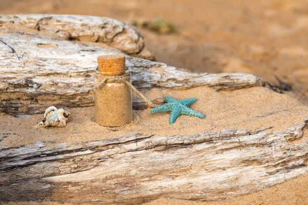 On the sand in a bottle of sea sand, a shell and a starfish next