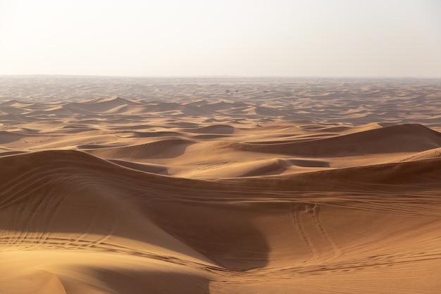 車の車輪の痕跡がある砂漠の砂丘
